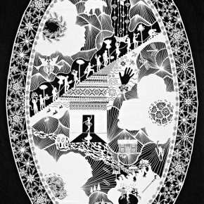 """24 Karen Bit Vejle """"Dragon Egg No.5"""" paper cut 80 x 100 cm 2014 290x290 - Chinese Dragon Encounters Nordic Dragon """"Paper Dialogue - The Dragon and Our Stories"""" Exhibition Opened at Today Art Museum"""