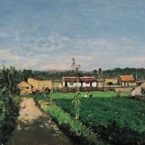 """24 Sun Jingbo, """"Village Landscape of Guyuan in Ningxia"""", 53 x 65 cm, oil on paper, 2000"""
