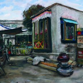 "28 Sun Jingbo, ""Tibetan House and Courtyard in Lhasa"", oil on paper, 54 x 79 cm, 1983"