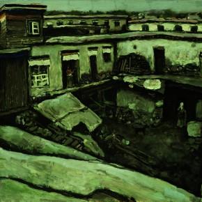 """29 Sun Jingbo, """"Bajiao Street Tibetan Houses in Lhasa"""", oil on paper, 54 x 79 cm, 1983"""