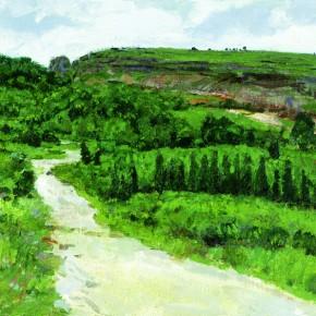"30 Sun Jingbo, ""The Path of West Mountain Quarry in Kunming"", 60 x 90 cm, 2005"