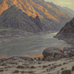 "34 Sun Jingbo, ""Warm Light on the Cliff of Chin-sha River"", oil on canvas, 130 x 160 cm, 2011"