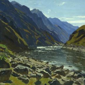 "35 Sun Jingbo, ""Chin-sha River Jiaoche Ferry"", oil on paper, 40 x 54 cm, 1972"