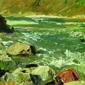 "38 Sun Jingbo, ""Chin-sha River in a Winter Day"", 12 x 21 cm, 1972"