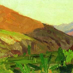 "39 Sun Jingbo, ""Jiaoche Ferry in an Evening"", oil on paper, 12.5 x 35.5 cm, 1972"