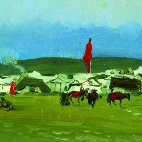 "41 Sun Jingbo, ""Baerda Pasture in Front of the Horse Racing Meeting"", oil on paper, 13 x 19 cm, 1983"