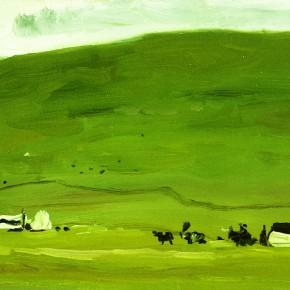 "42 Sun Jingbo, ""Baerda Pasture in Front of the Horse Racing Meeting"", oil on paper, 11.6 x 18.5 cm, 1983"