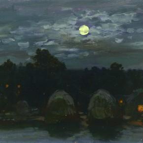 "48  Sun Jingbo, ""Guyuan in the Mid-Autumn Festival Night"", oil on paper, 20 x 27 cm, 2000"