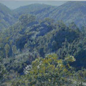 """50 Sun Jingbo, """"Mountains of the Southwest of Yunnan at Noon"""", 39 x 56 cm, gouache, 1974"""