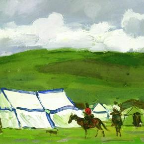 "51 Sun Jingbo, ""The Northern Tibet Plateau Pasture"", 13 x 18.2 cm, oil on paper, 1983"
