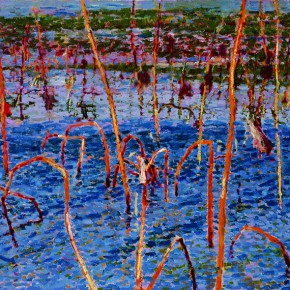 """52 Sun Jingbo, """"Ruined Lotus and Sunset"""", oil on canvas, 75 x 115 cm, 1995"""
