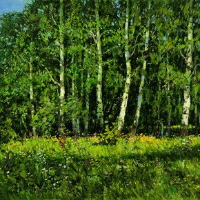 """54 Sun Jingbo, """"Birches on the Outskirts of Peterborough"""", oil on canvas, 60 x 80 cm, 2004"""
