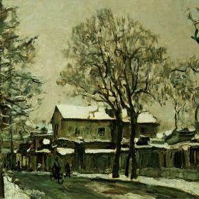 "55 Sun Jingbo, ""Early Snow of Beijing Shuaifuyuan Back Street in 1978"", oil on paper, 39 x 54 cm, 1978"