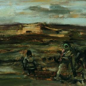 "57 Sun Jingbo, ""A Sandstorm Day of Baerda Plateau"", oil painting, 20 x 26 cm, 1983"