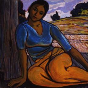"""59 Sun Jingbo, """"A Jingpo Woman Sitting in the Arbor"""", oil on cardboard, 54 x 79 cm, 1982"""