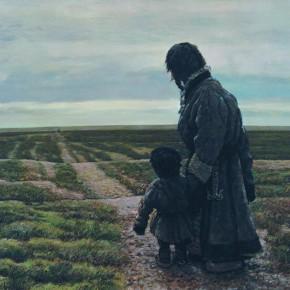 "64 Sun Jingbo, ""The Distant Path"", oil painting, 80 x 100 cm, 1995"