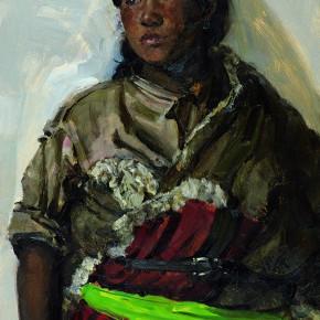 "65 Sun Jingbo, ""A Shy Haergai Tibetan Girl"", 79 x 54 cm, 1979"