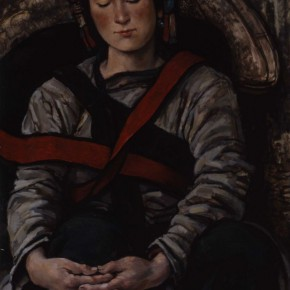 """68 Sun Jingbo, """"A Sani Mother is in a Nap"""", oil on paper, 79 x 54 cm, 1980"""