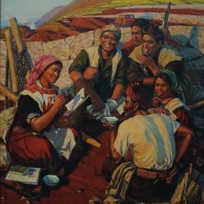 "70 Sun Jingbo, ""Wumeng Mountain People"", oil on canvas, 180 x 160 cm, 1974"