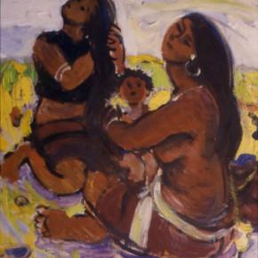 """72 Sun Jingbo, """"The Wheat Harvest Season in Wa Mountain"""", oil on paper, 27 x 20 cm, 1980"""