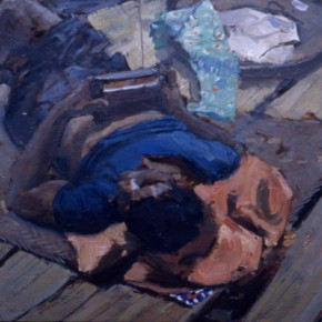 """73  Sun Jingbo, """"A Wa Boy Playing a Transistor Radio and Lying on the Roof Terrace of a Bamboo House"""", 20 x 30 cm, 1980"""