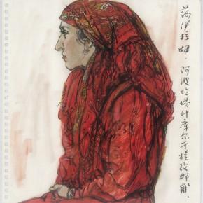 """74 Sun Jingbo, """"A Tajik Girl"""", colored pen on paper, 26 x 26 cm, 2001-"""