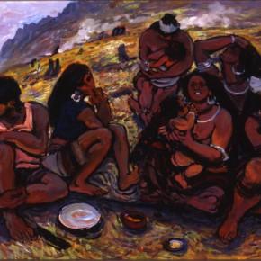"""75 Sun Jingbo, """"Wa Mountain People Harvesting Wheat"""", oil on canvas, 54 x 79 cm, 1980"""