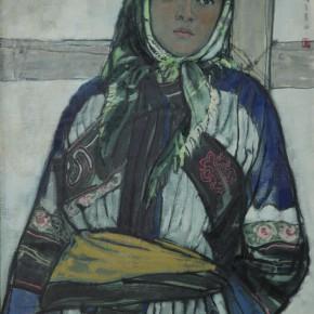 """77 Sun Jingbo, """"A Sani Girl"""", oil on paper, 79 x 54 cm, 1980"""