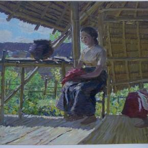 """78 Sun Jingbo, """"The Ruili Dai Bamboo Houses in April"""", 39 x 54 cm, 1974"""