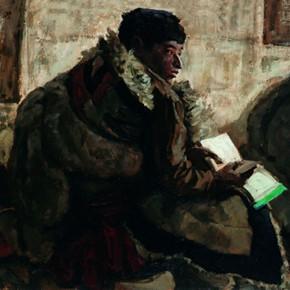 "79 Sun Jingbo, ""A Student of Zeku Tibetan Primary School in Qinghai"", oil painting, 54 x 79 cm, 1979"
