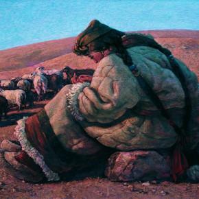 "81 Sun Jingbo, ""A Shepherdess"", 80 x 115 cm, 1991"