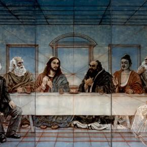 "83 Sun Jingbo, ""Focus Perspective – Tea Party on Postmodern Ecology of Human"", 244 x 610 cm, 2001"