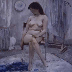"""85 Sun Jingbo, """"A Female Nude in the Blue-Gray"""", oil painting, 80 x 80 cm, 1988"""