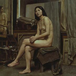 "86 Sun Jingbo, ""A Model in the Studio"", oil painting, 80 x 80 cm, 1992"