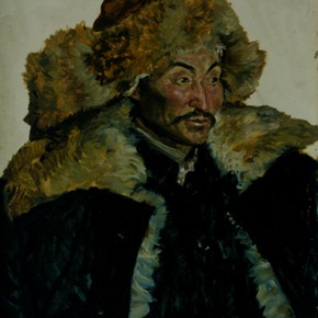 "87 Sun Jingbo, ""The Kazakh Torre in Geermu"", oil painting, 79 x 55 cm, 1979"
