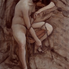"""89 Sun Jingbo, """"The Female Nude Leaning against the Back of the Chair"""", oil painting, 1988"""