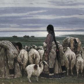 """90 Sun Jingbo, """"Bank of Ecuo Lake"""", oil on canvas, 130 x 180 cm, 1992"""