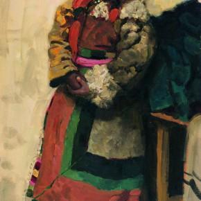 """91 Sun Jingbo, """"A Tibetan Girl in the Lamplight"""", oil painting, 76 x 46 cm, 1979"""