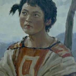 """95 Sun Jingbo, """"Yi Girl A Ti of Baile Village"""", 54 x 39 cm, 1972"""
