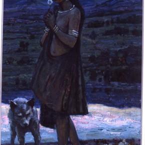 """98 Sun Jingbo, """"The A Wa Girl"""", 110 x 70 cm, 1988"""