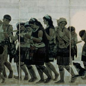 """99 Sun Jingbo, """"Awa Mountain People"""", oil painting, 200 x 500 cm, 1980"""