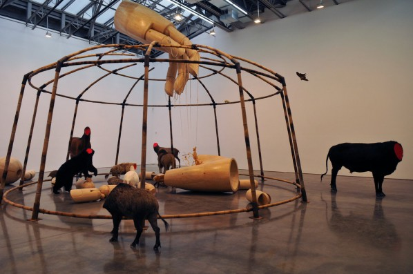 Huang Yongping, Circus, 2012; Wood, bamboo, taxidermy animals, resin, steel, cord and cloth, 841.1×1000.1×1000.1cm