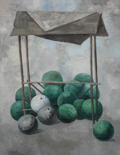 Li Chao, Watermelon and Bowling; Oil on canvas, 180x140cm