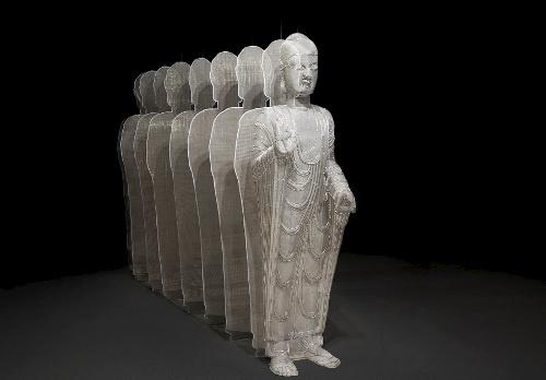 Shi Zhongying, Buddha, 2013; Stainless steel, H 205 x W 70 x D 360 cm