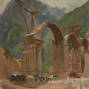 05 Feng Fasi Sketch of the Construction of Baocheng Railway No. 5 1957 290x290 - Retrospect Exhibition of Mr. Feng Fasi: Cutting Mountain Paths Opening Nov. 29 at CAFAM