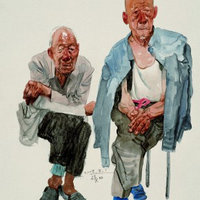 """09 Li Xiaolin """"The Old Brothers"""" watercolor and charcoal 53 x 47.5 cm 2008 290x290 - """"Face & Looks"""" Exhibition featuring works by Li Xiaolin opened at Dacheng Art Gallery"""