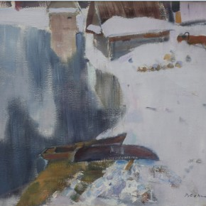 "11 Sokolov, ""The First Snow"", oil on canvas, 65 x 70 cm, 1999"