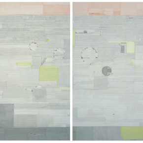 "34 Liang Quan, ""Sailing~Afar"", two pieces, ink, colors, rice paper collage on linen, 200 x 140 cm x 2, 2011"