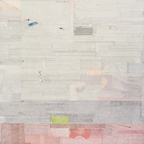 "43 Liang Quan, ""Sailing~Afar Triptych No.2"", ink, colors, rice paper collage on linen, 200 x 150 cm, 2010"