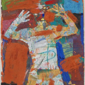 "90 Liang Quan, ""Mother"", colors, ink, rice paper collage, 125 x 93 cm, 1989"